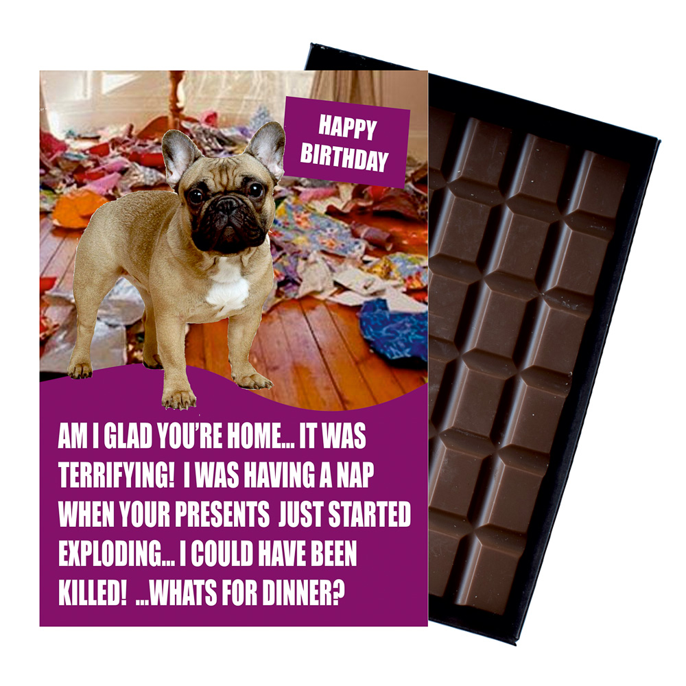 French Bulldog Funny Birthday Gift For Dog Lover Or Owner 85 Gram Boxed Chocolate Man