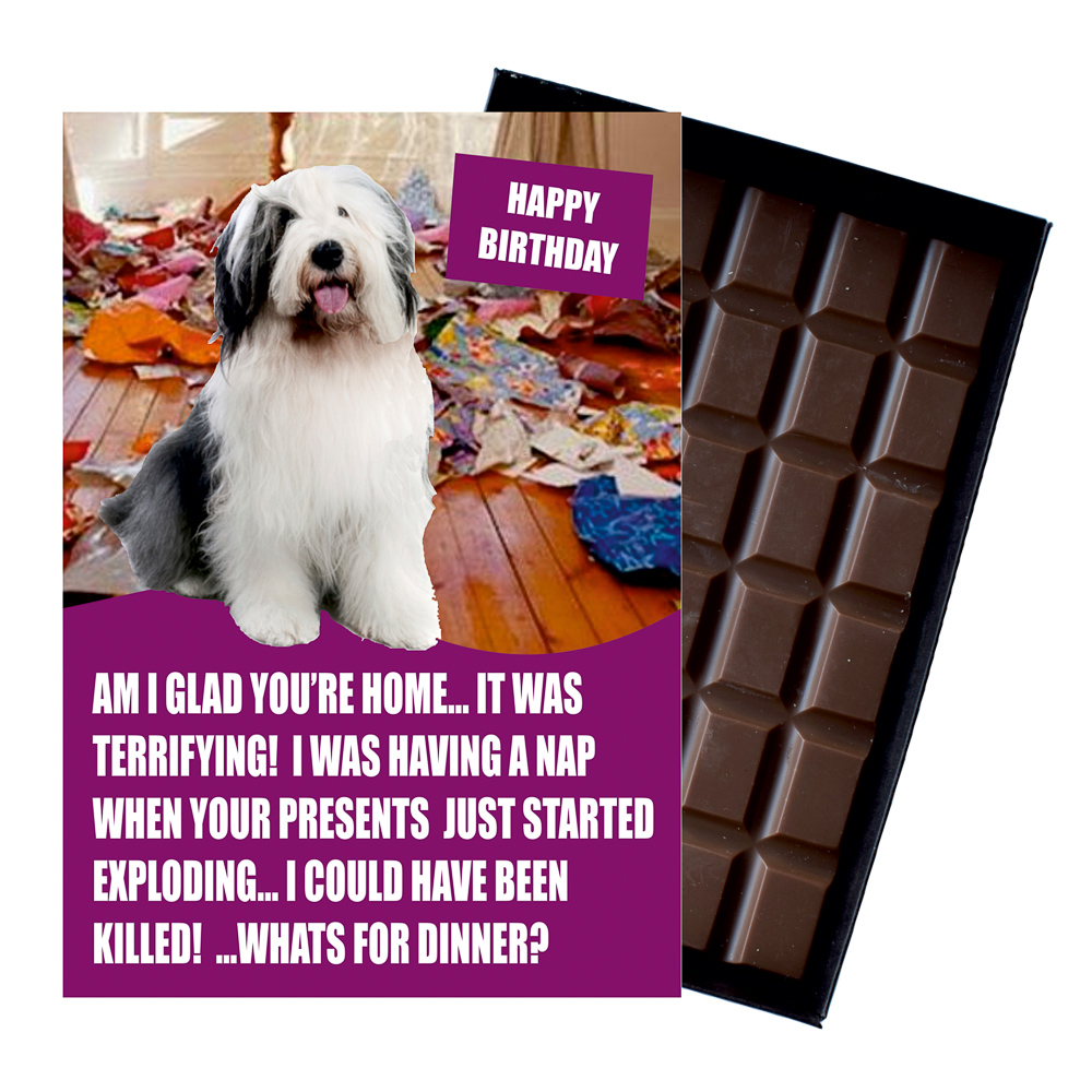 Old English Sheep Funny Birthday Gift For Dog Lover Or Owner 85 Gram Boxed Chocolate